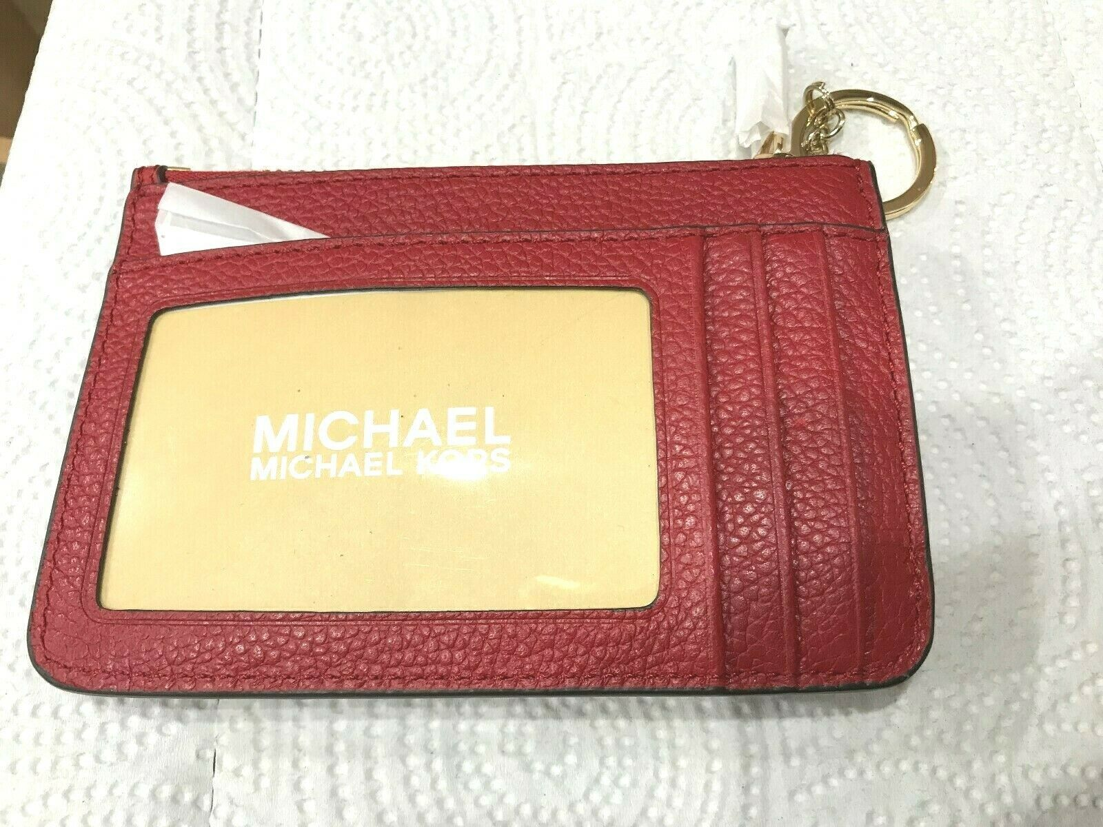 Michael Kors Adele Small Top Zip Coin Pouch Card Holder ID Key Ring Msrp 98.00