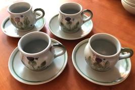 Thistleware Stoneware Buchan Scotland 4 Flat Cups Round Handles Saucers EUC - $39.74