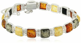 New Sterling Silver 925 Multi Color 8mm Amber Gemstone Link Tennis Bracelet 7""