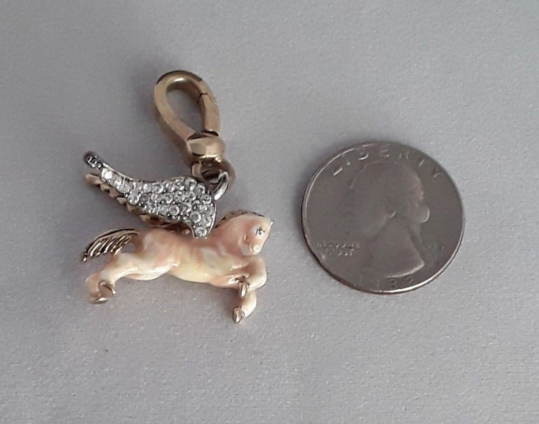 JUICY COUTURE Pegasus Flying Horse Pave Crystal Charm EUC