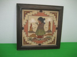 Southwestern Sandstone Painting Navajo Indian Girl Picture Framed - $29.65