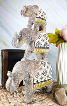 Silver Animal Totem Pole Stacked Elephant Statue With Unique Tapestry De... - $31.99