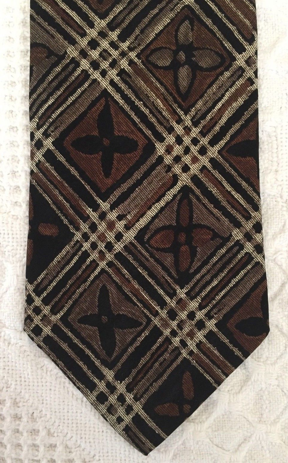 """GEOFFREY BEENE Mens Brown Taupe FLORAL Plaid Necktie Tie 100% Silk 57"""" x 3.75"""" image 2"""