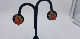 Vintage Brown Holly Leaf With Two (2) Red Berries Screw Back Earrings EUC - $14.47