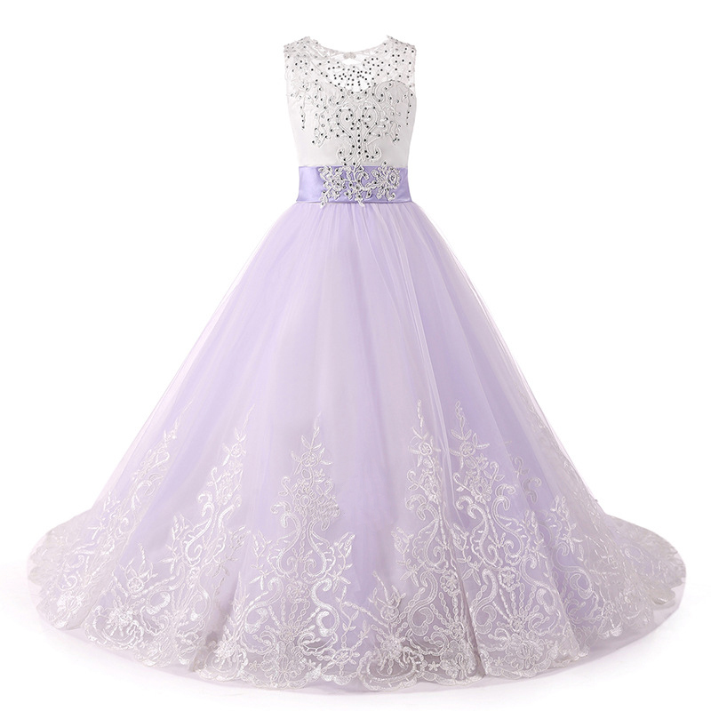 Vintage Lace Flowers Girls Dresses Lavender Tulle  Pricess Prom Party Gowns Bow