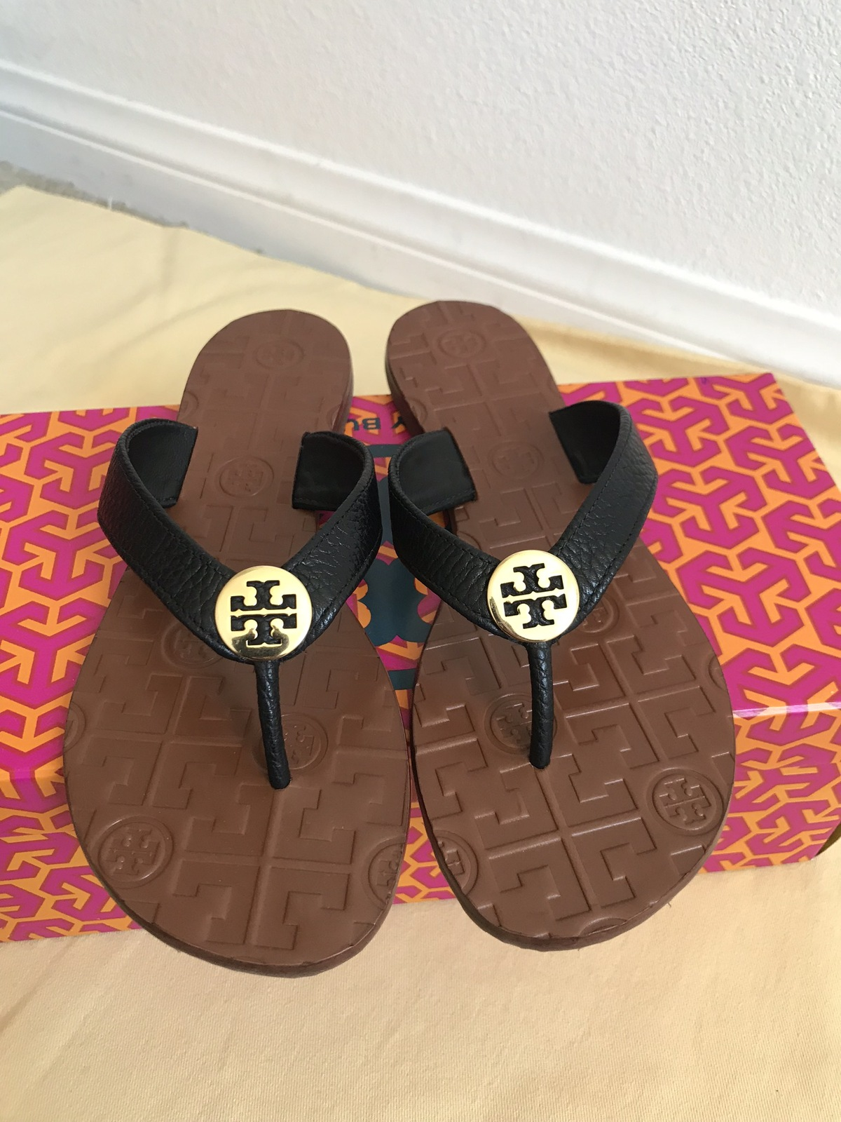 4b87bbc6b Img 1453. Img 1453. Previous. size 7M NIB TORY BURCH Black  Gold Thora Thong  Leather Sandals