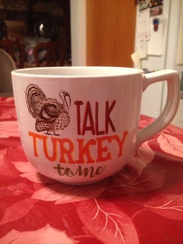 Jumbo Oversized Talk Turkey To Me Soup Bowl Cereal Bowl Coffee Mug 27 oz New