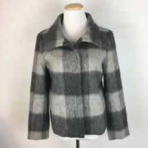 Talbots Women's Gray Full Zip Wool Blend Warm Coat Blazer Jacket Size 8 ... - $28.70