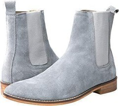 Handmade Men's Gray Suede High Ankle Chelsea Boots image 2