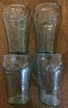 "SET OF 4 COLLECTIBLE GREEN TINT SMALL COCA COLA GLASSES Embossed 4"" Tall... - $19.99"