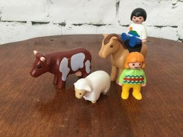 Playmobil Vintage 1990 Farm Animals And People Horse Cow Sheep #1 - $11.88
