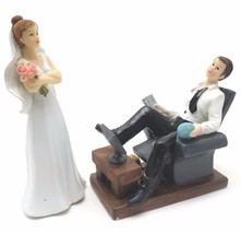 Bride and Groom Cake top funny couple lazy relaxing groom whimsical statue - $29.65
