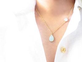mint drop necklace - $29.00