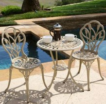 Traditional Bistro Set Aluminum Patio Garden Cafe Furniture Veranda Deck... - $197.99