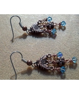 Swarovski Earrings Aquamarine Swarovski Crystal Copper Earrings Hand Mad... - $29.99