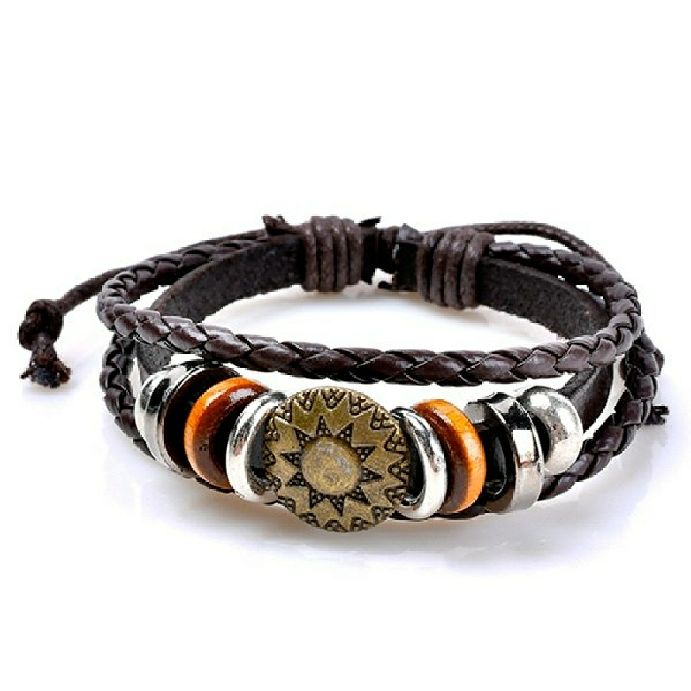 Brown Sun Layered Leather Bracelet For Men