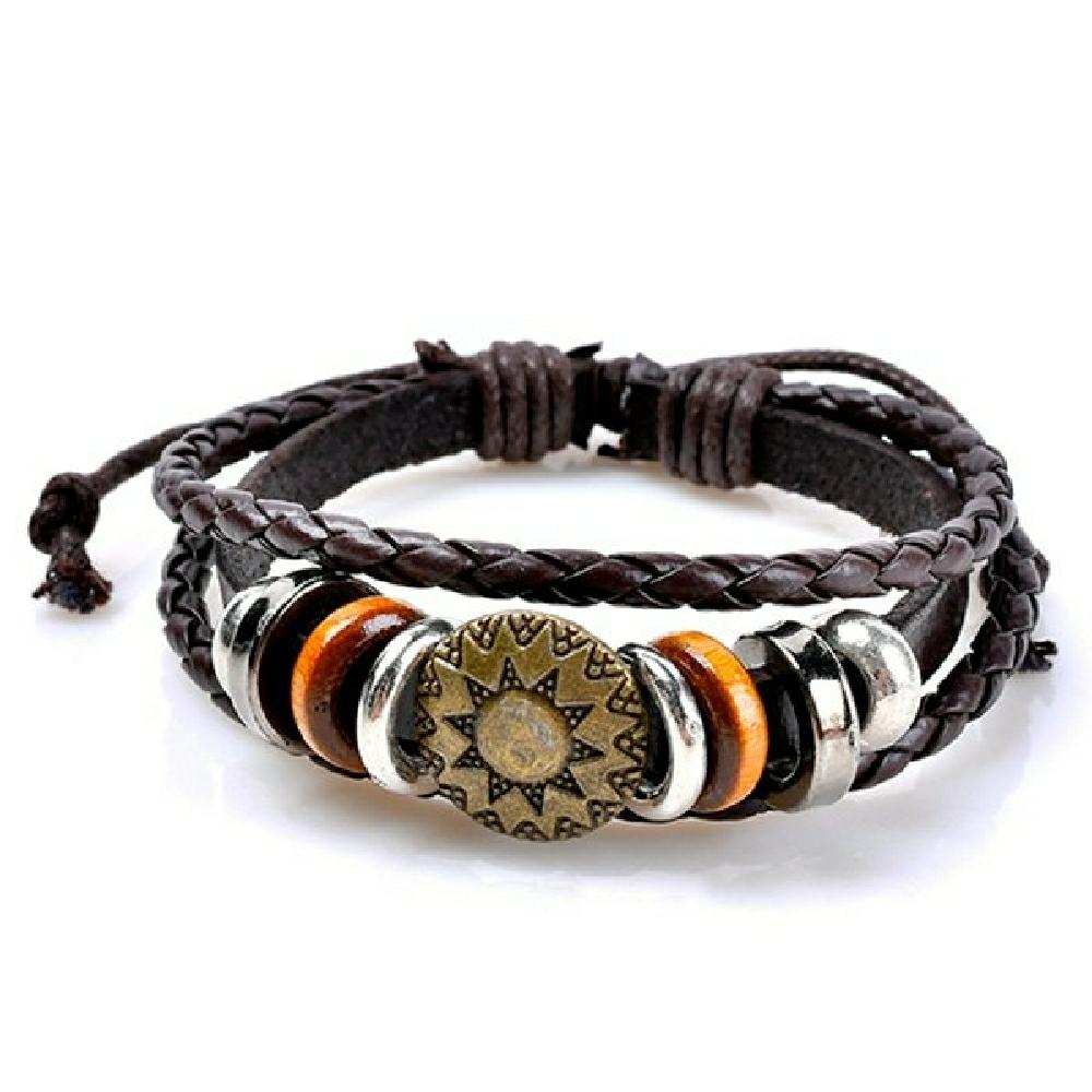 Vintage circles sun pattern embelished layered bracelet cofee
