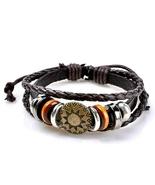 Vintage circles sun pattern embelished layered bracelet cofee thumbtall