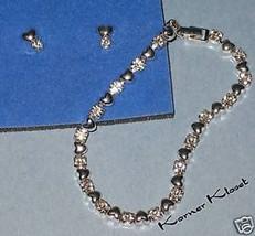Rhinestone Heart Bracelet & Earring Set - Pierced - Avon - NIB - $14.46