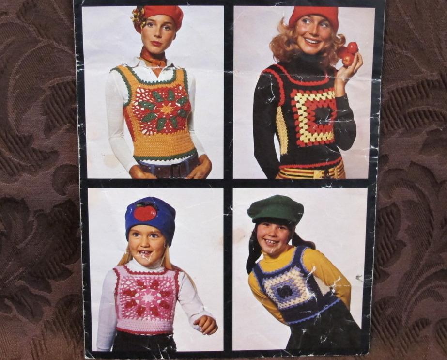 Vintage Crocheting Crochet Patterns RETRO LADIES GIRLS Stretch Tops VESTS Funky - $7.99