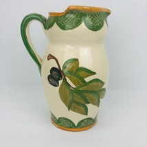 Hand Painted Clay Pottery Portugal Water Pitcher Olives Leaves Sangria P... - $49.49