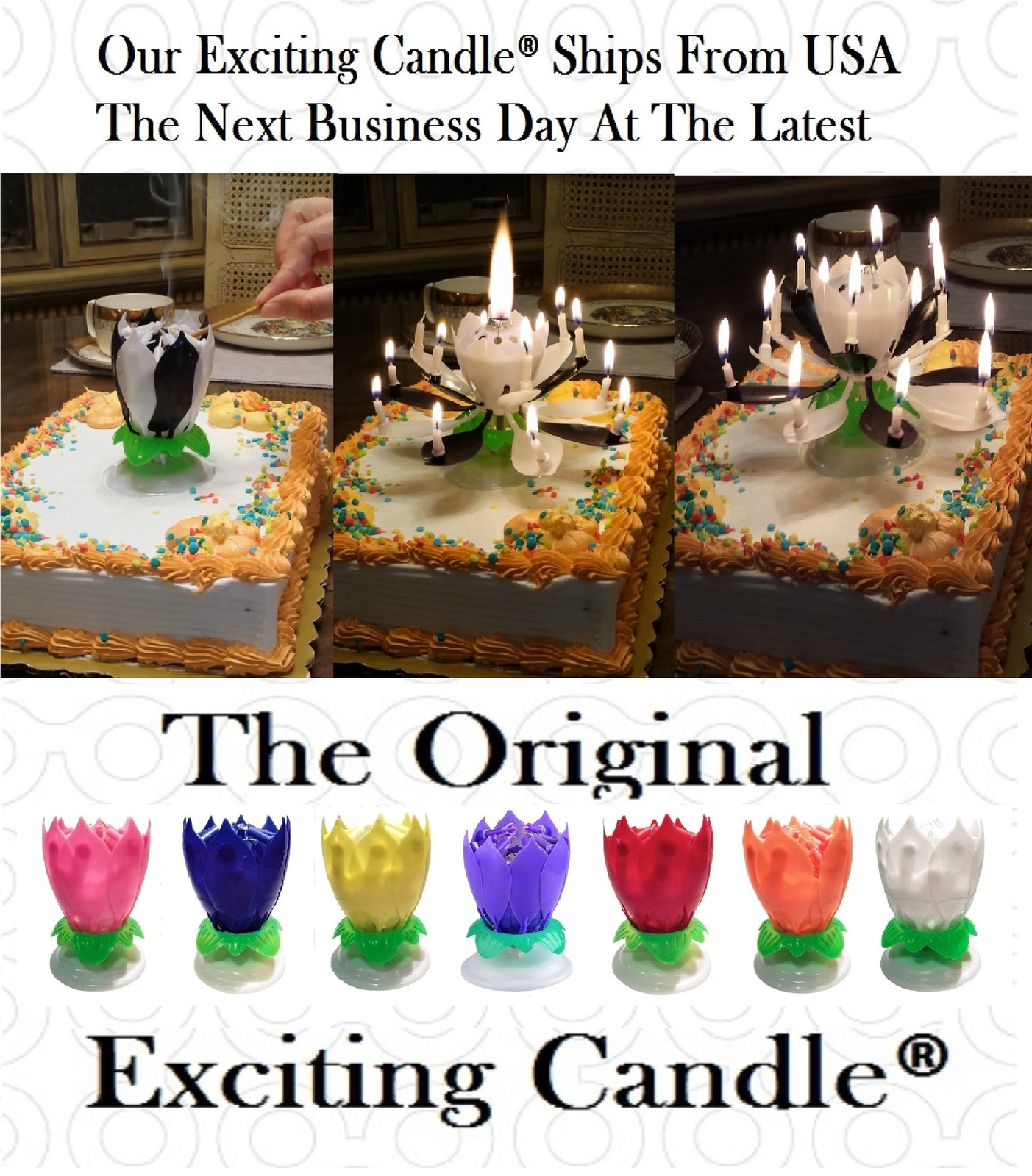 1 Rainbow + 1 BL/WH  Amazing Lotus Flower Music Happy Birthday EXCITING CANDLE