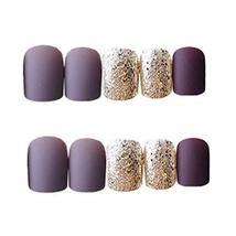 Purple Grey/Gold False Fingernails Full Cover Artificial Nails Tips Fake Nails