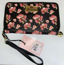 JUICY COUTURE Wallet- Wristlet Zip Around Black Rose Print  Single Zip L... - $29.99