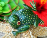 Vintage erwin pearl frog toad green enamel gold tone brooch pin signed thumb155 crop
