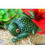 Vintage Erwin Pearl Frog Toad Green Enamel Gold Tone Brooch Pin Signed - $32.95
