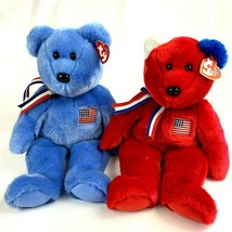 2 TY Beanie Buddies America Bears Red and Blue American Red Cross Patriotic - $34.79