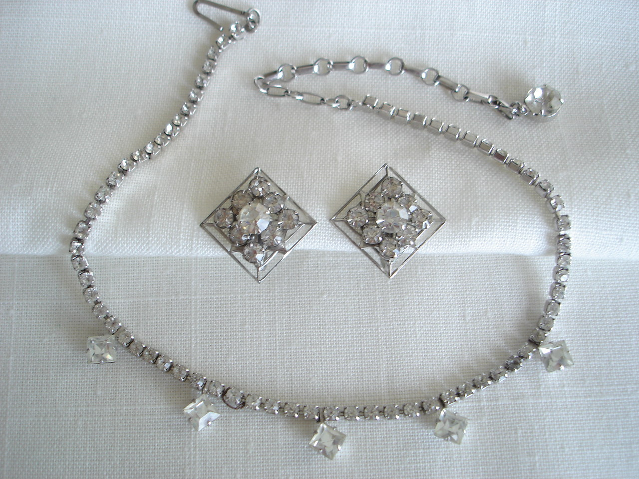 Vintage Silvertone Paved Rhinestone Necklace, Dangles