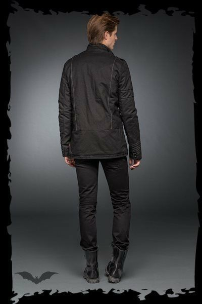 Men's Black Goth Punk Fall Winter Spring Jacket Slim Fit Light Stitching Coat