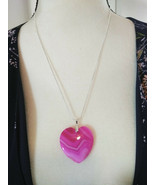 Necklace with Heart Shape Pink Banded Agate Pendant  Sterling Sliver Chain - $19.79