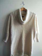 Express Women's Metallic Gold Cowlneck Sweater Tunic Wool Blend Sz M Pre... - $22.94