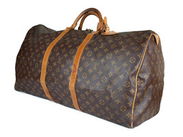 Auth Louis Vuitton Keepall 60 Monogram Canvas Leather Travel Bag, Boston Bag - $469.00