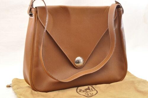 HERMES Christine Shoulder Bag Leather Brown Auth 5676