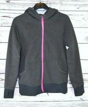 Athleta Girl Grey & Pink Full Zip Hooded Cotton Blend Jacket XL/14 - $23.00