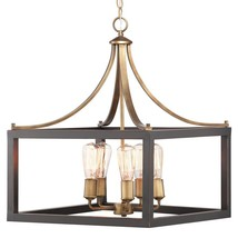 Boswell Quarter 5-Light Vintage Brass Chandelier with Painted Black Dist... - $230.44
