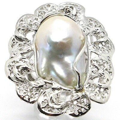 925 SILVER RING, PEARL BAROQUE WITH FRAME, FLOWER, MADE IN ITALY