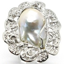 925 SILVER RING, PEARL BAROQUE WITH FRAME, FLOWER, MADE IN ITALY image 1