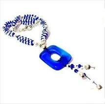 N173 BEAUTIFUL ROYAL BLUE GLASS AND STERLING SILVER HANDCRAFTED NECKLACE... - $9.90