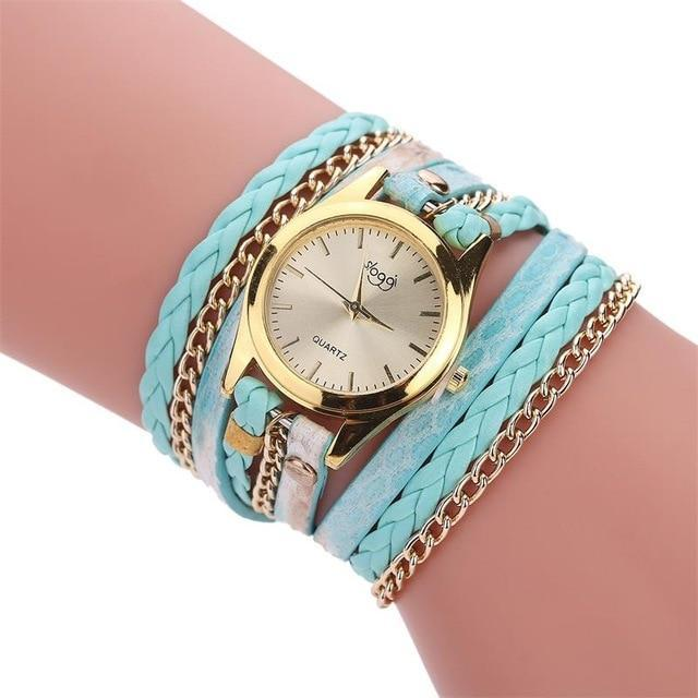MINHIN Brand Quartz Watches Women Gold Geneva Bracelet Wristwatch Ladies Dress W