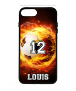 PERSONALIZED NUMBER NAME SOCCER FIRE PHONE CASE COVER FOR IPHONE XR XS X... - $11.99+