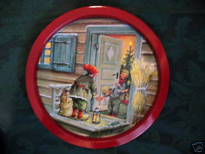 Sweden Swedish Christmas Santa Erik Forsman Tray Souvenir Collector Collectible