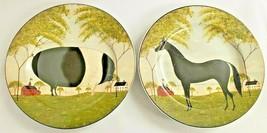 Warren Kimble Animal Collection 2 Salad Plates Horse & Pig Made Indonesia - $28.05