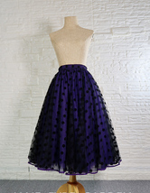 Romantic Puffy Floral Tulle Skirt High Waisted Knee Length Tulle Skirt Plus Size image 9