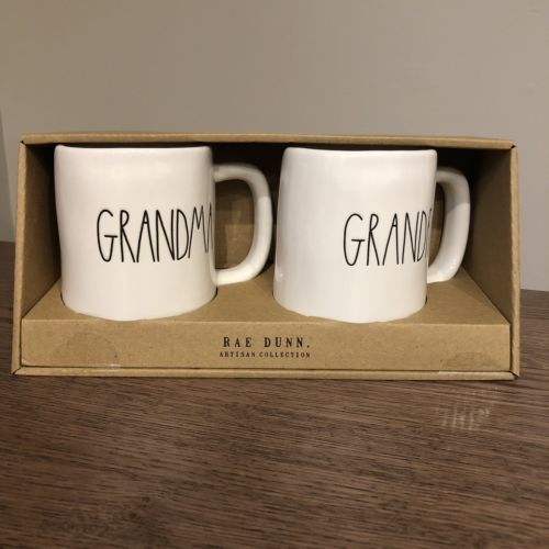New! Rae Dunn Grandma and Grandpa LL Mug Set