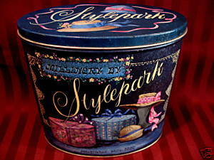 MILLINERY by STYLEPARK OLD HAT BOXES HATS Tin Vintage Collectible Souvenir