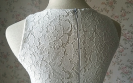 White Sleeveless Lace Tank Tops Bridesmaids Lace Top Crop Top Plus Size Lace Top image 10